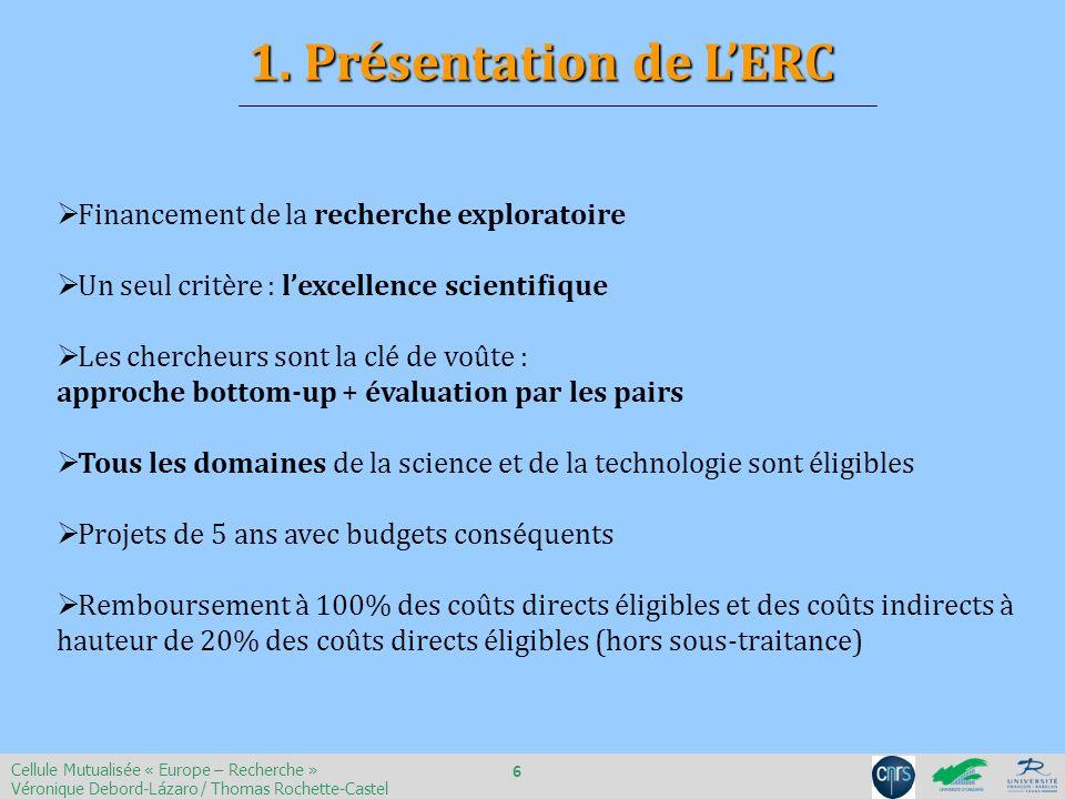 1. Présentation de L'ERC Financement de la recherche exploratoire