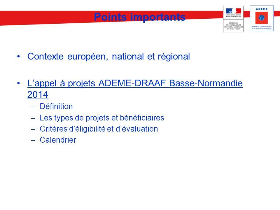 Points importants Contexte européen, national et régional