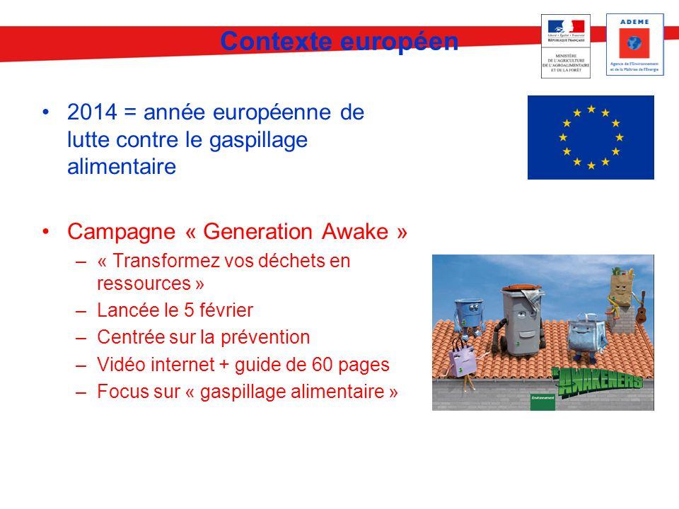 Contexte européen 2014 = année européenne de lutte contre le gaspillage alimentaire. Campagne « Generation Awake »