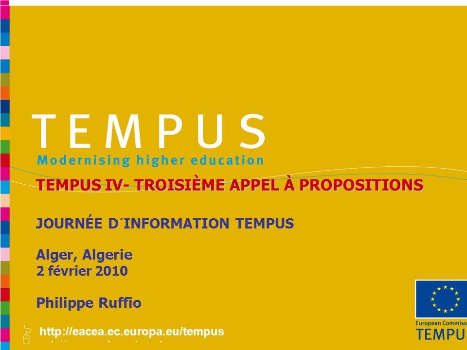 TEMPUS IV- TROISIÈME APPEL À PROPOSITIONS