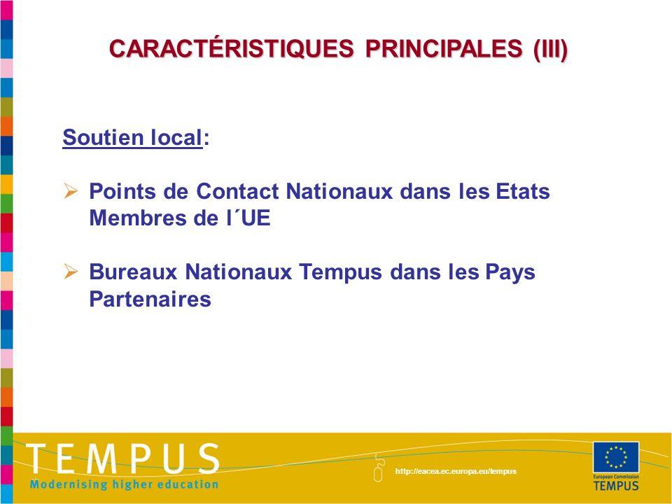 CARACTÉRISTIQUES PRINCIPALES (III)