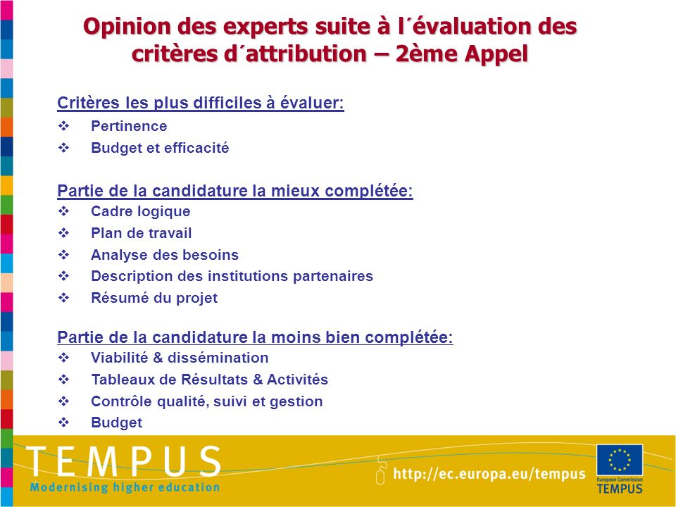 Opinion des experts suite à l´évaluation des critères d´attribution – 2ème Appel