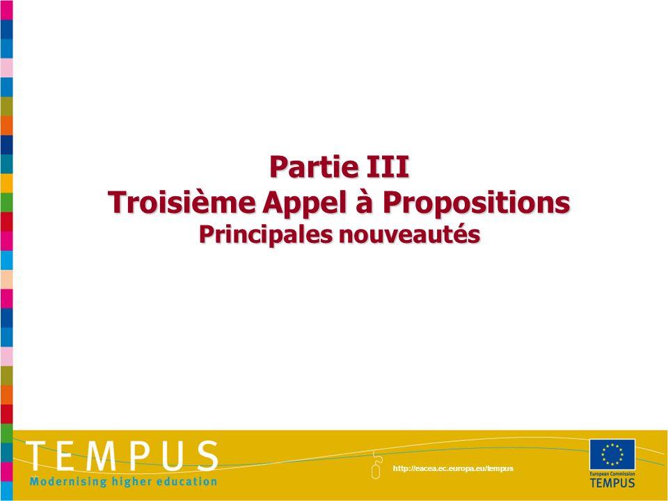 Troisième Appel à Propositions Principales nouveautés