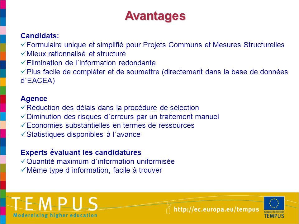 Avantages Candidats: Formulaire unique et simplifié pour Projets Communs et Mesures Structurelles.