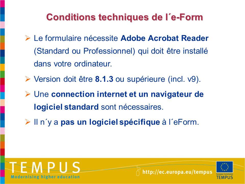Conditions techniques de l´e-Form