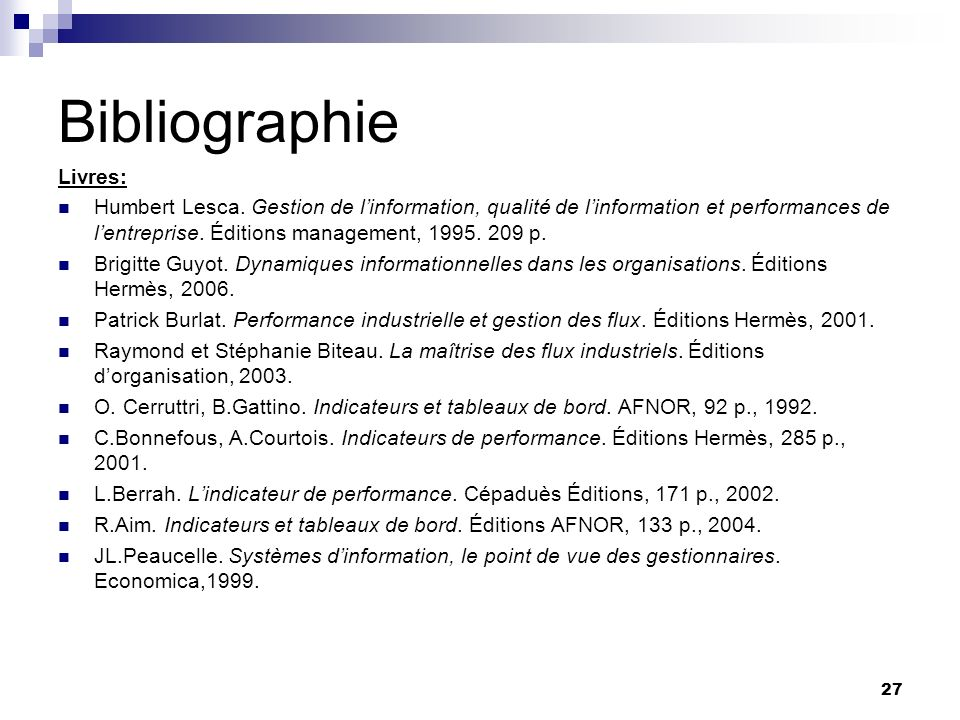 Bibliographie Livres: