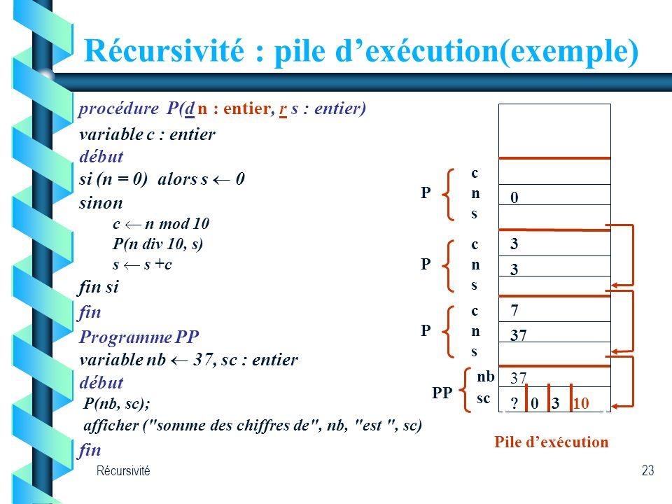 Récursivité : pile d'exécution(exemple)
