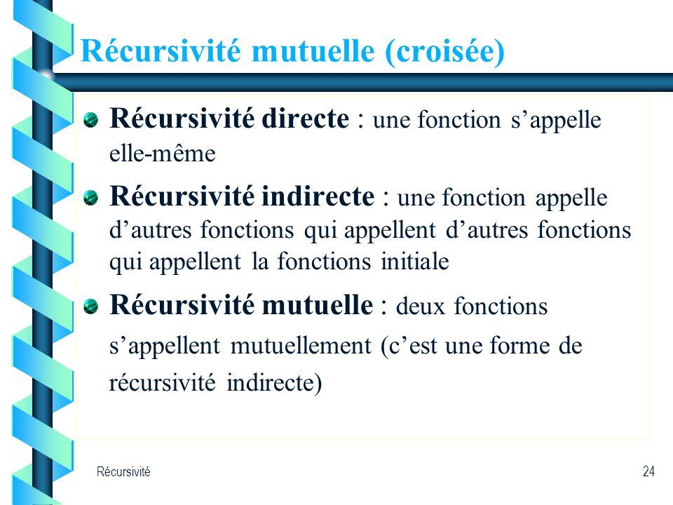 Récursivité mutuelle (croisée)