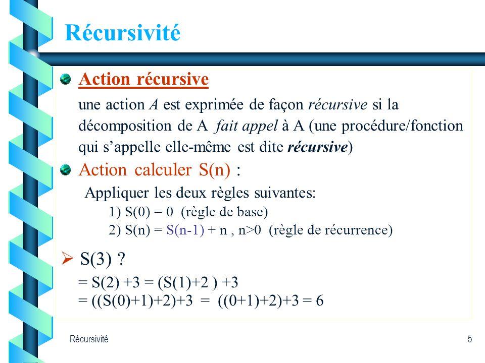 Récursivité Action récursive Action calculer S(n) :  S(3)