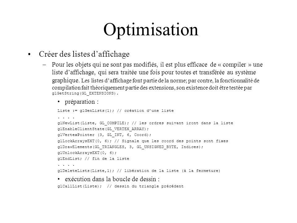 Optimisation Créer des listes d'affichage