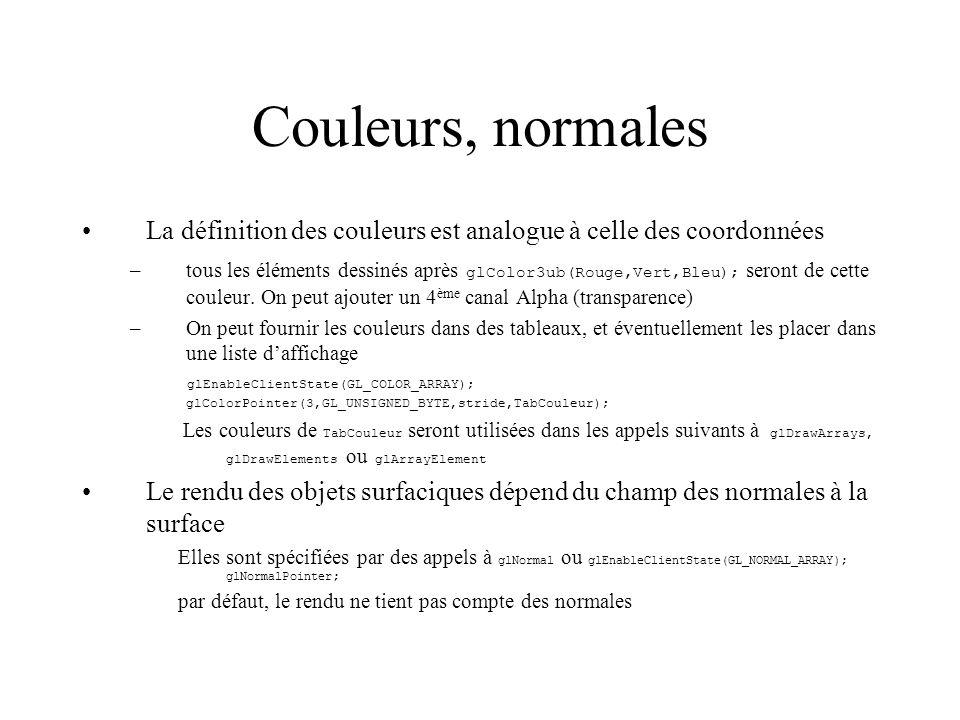 Couleurs, normales La définition des couleurs est analogue à celle des coordonnées.