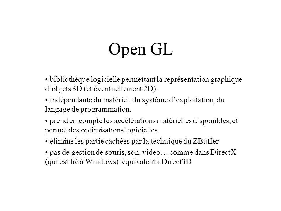 Open GL bibliothèque logicielle permettant la représentation graphique d'objets 3D (et éventuellement 2D).