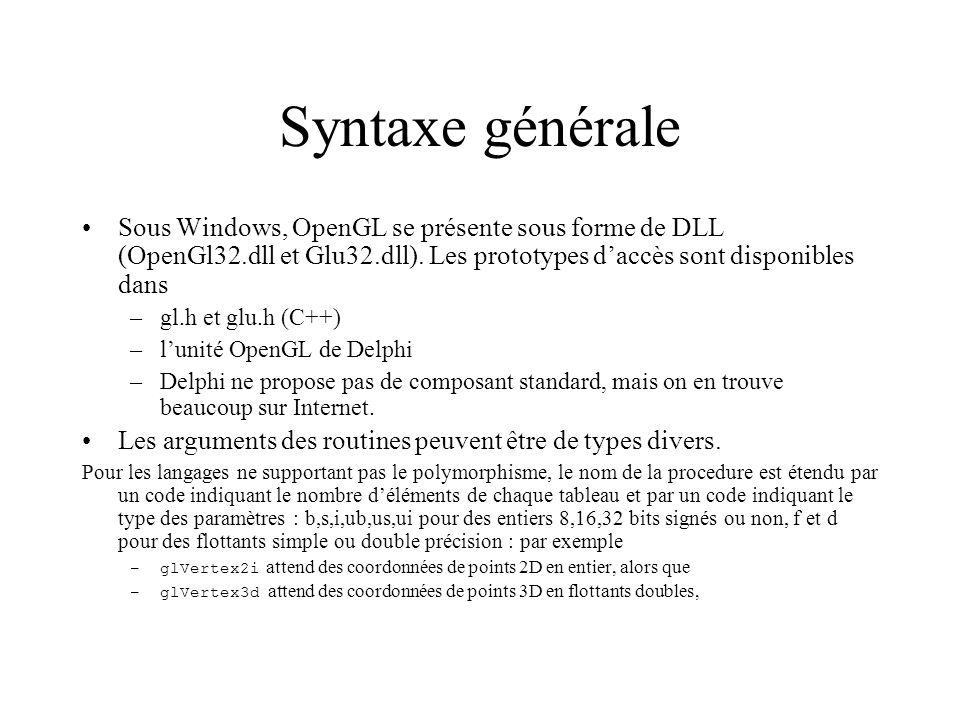 Syntaxe générale Sous Windows, OpenGL se présente sous forme de DLL (OpenGl32.dll et Glu32.dll). Les prototypes d'accès sont disponibles dans.