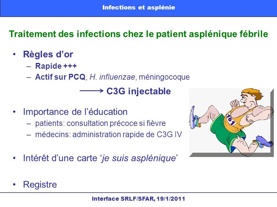 Traitement des infections chez le patient asplénique fébrile