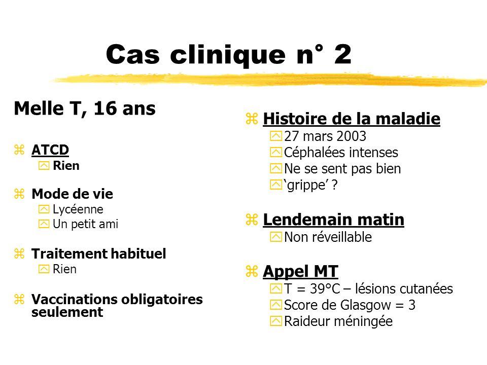 Cas clinique n° 2 Melle T, 16 ans Histoire de la maladie
