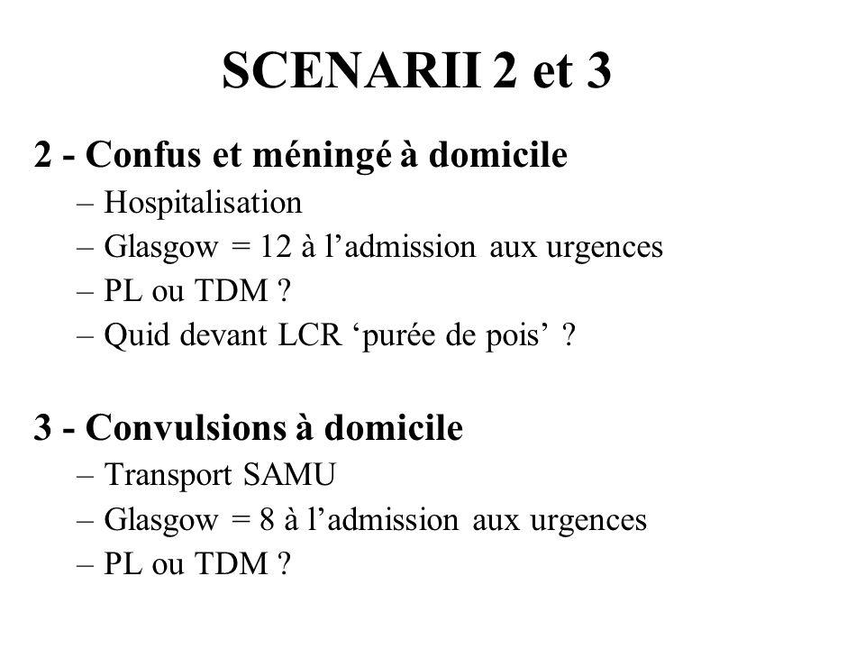 SCENARII 2 et 3 2 - Confus et méningé à domicile