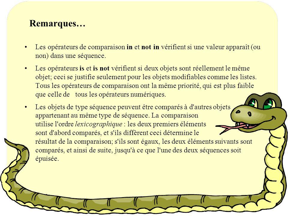 Remarques… Les opérateurs de comparaison in et not in vérifient si une valeur apparaît (ou non) dans une séquence.