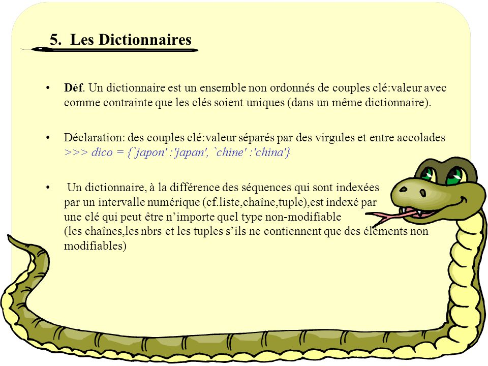 5. Les Dictionnaires