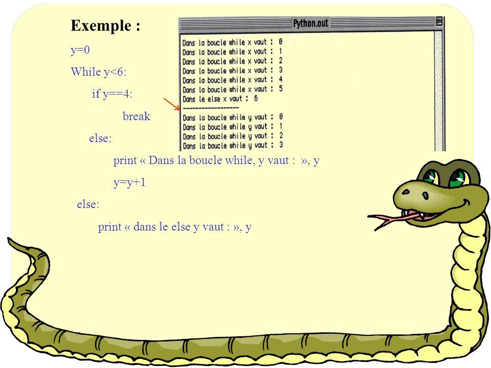 Exemple : y=0 While y<6: if y==4: break else: