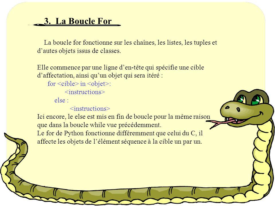 3. La Boucle For La boucle for fonctionne sur les chaînes, les listes, les tuples et d'autes objets issus de classes.
