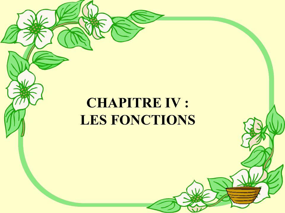CHAPITRE IV : LES FONCTIONS
