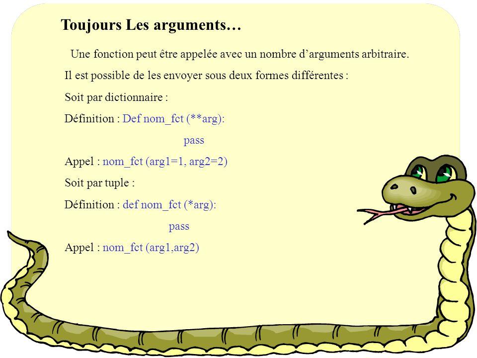 Toujours Les arguments…