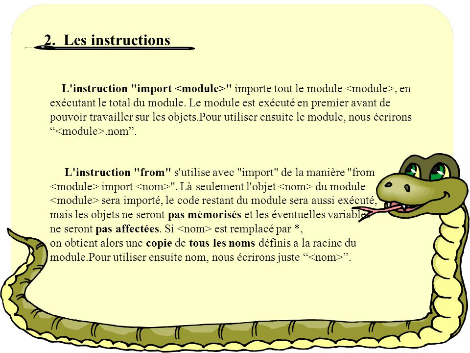 2. Les instructions