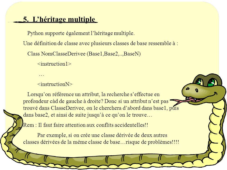 5. L'héritage multiple Python supporte également l'héritage multiple.