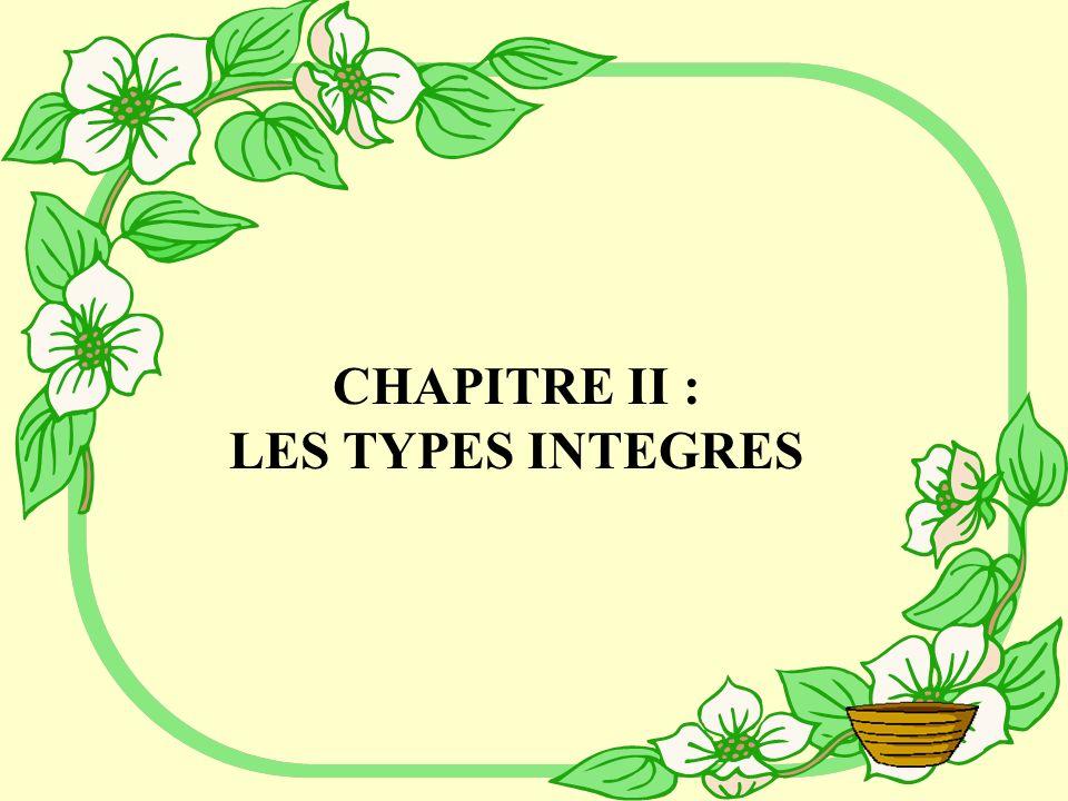 CHAPITRE II : LES TYPES INTEGRES