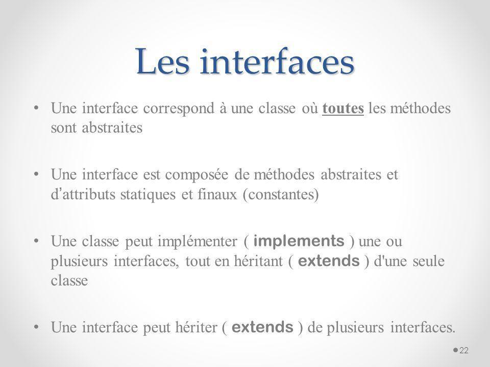 Les interfaces Une interface correspond à une classe où toutes les méthodes sont abstraites.