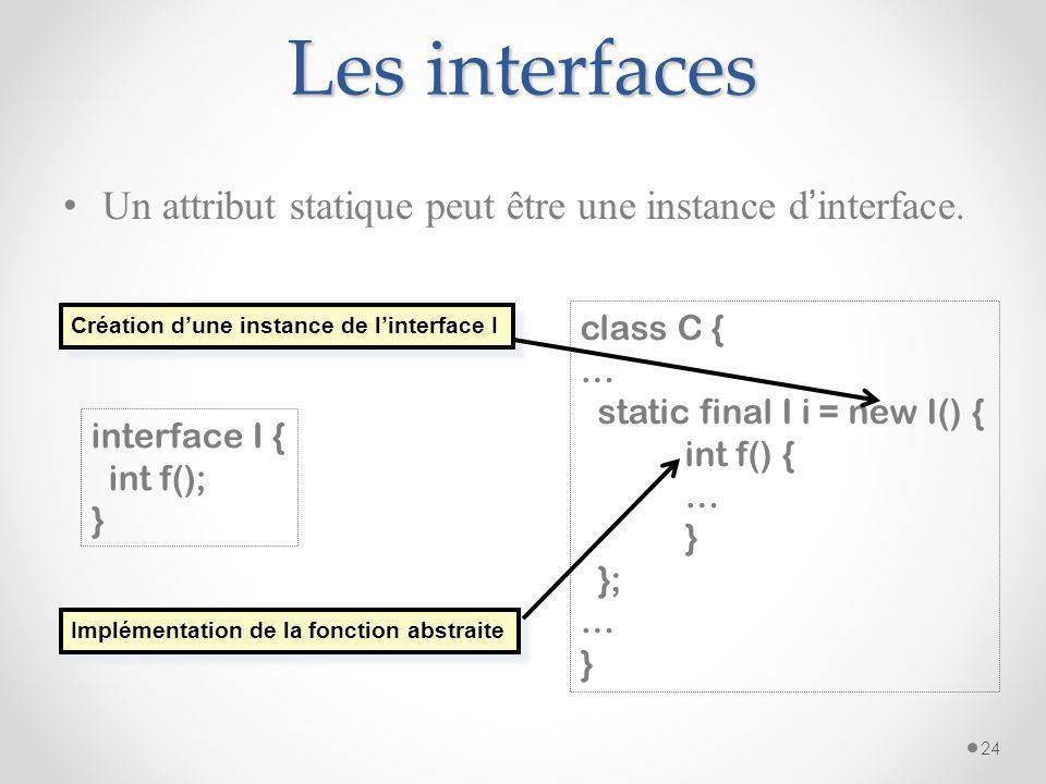 Les interfaces Un attribut statique peut être une instance d'interface. Création d'une instance de l'interface I.