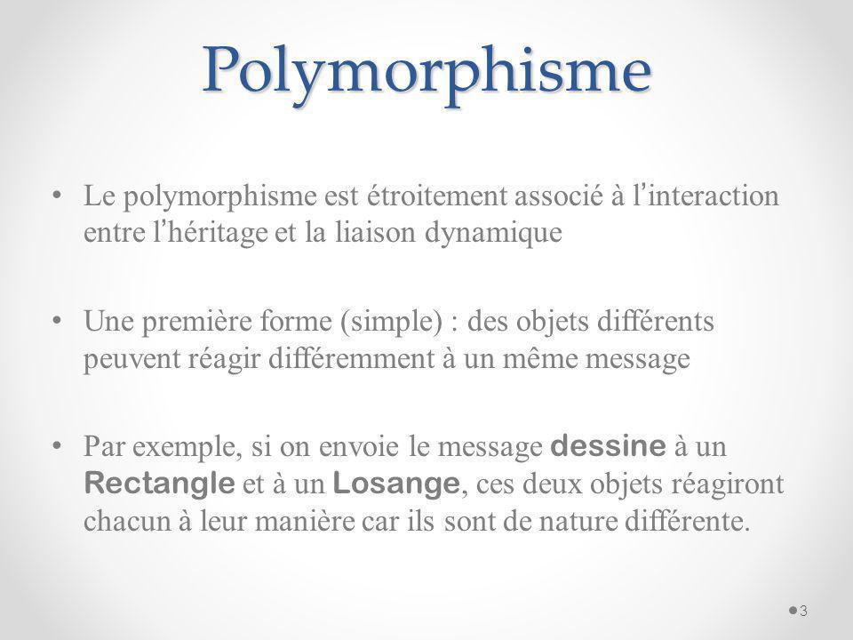 Polymorphisme Le polymorphisme est étroitement associé à l'interaction entre l'héritage et la liaison dynamique.