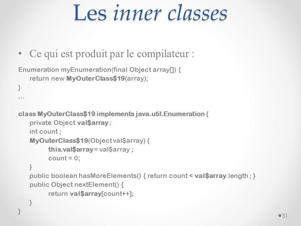 Les inner classes Ce qui est produit par le compilateur :