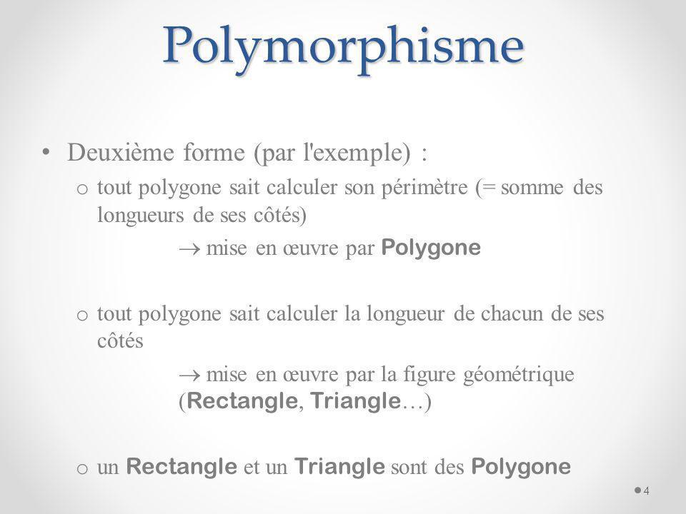 Polymorphisme Deuxième forme (par l exemple) :