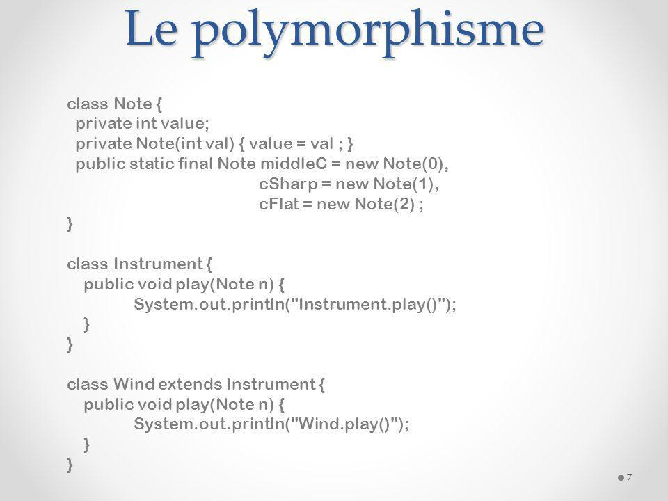 Le polymorphisme class Note { private int value;
