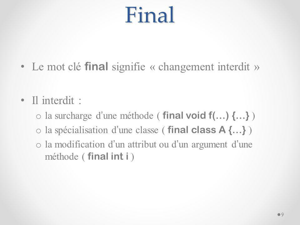 Final Le mot clé final signifie « changement interdit » Il interdit :