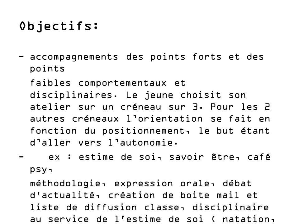 Objectifs: - accompagnements des points forts et des points