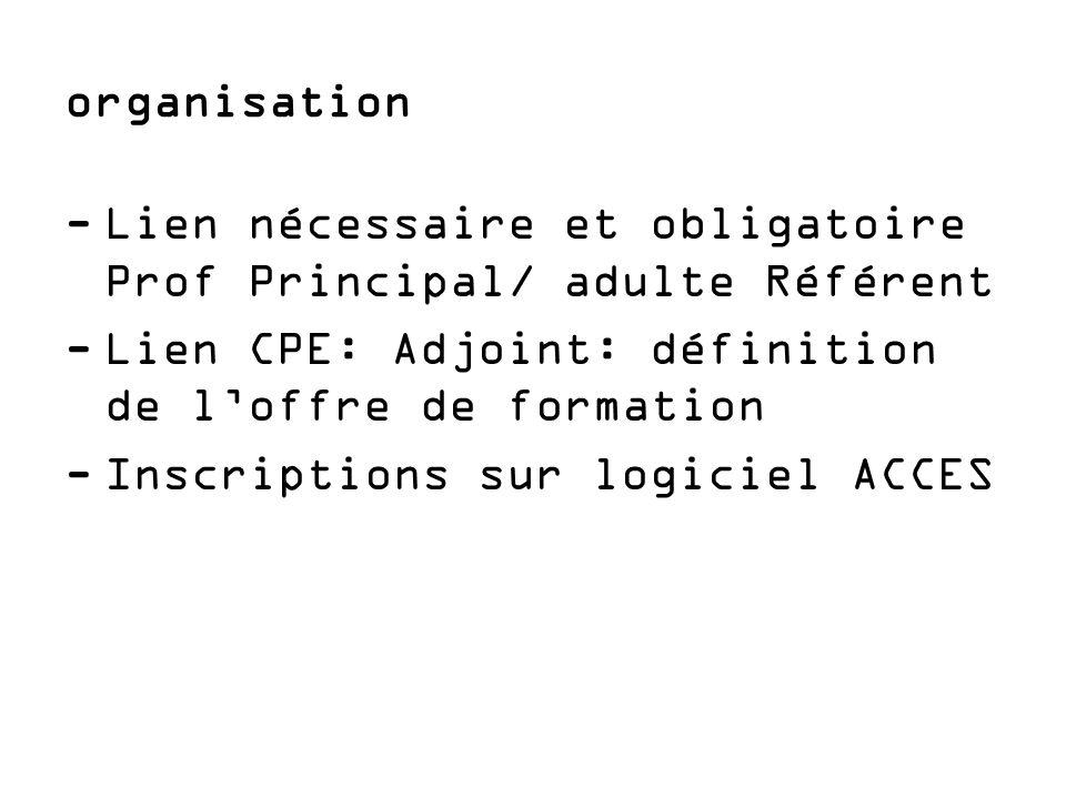 organisation Lien nécessaire et obligatoire Prof Principal/ adulte Référent. Lien CPE: Adjoint: définition de l'offre de formation.