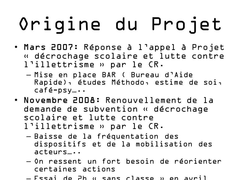 Origine du Projet Mars 2007: Réponse à l'appel à Projet « décrochage scolaire et lutte contre l'illettrisme » par le CR.