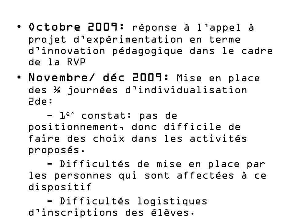 Février 2010: réponse à l'appel à projet « livret de compétence »