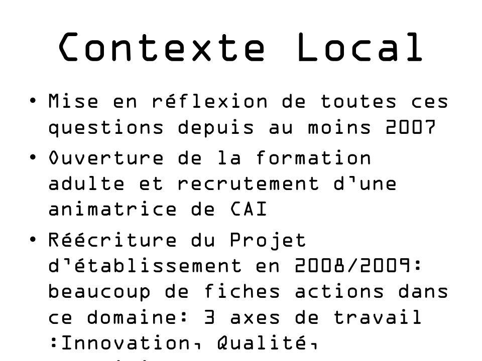 Contexte Local Mise en réflexion de toutes ces questions depuis au moins 2007.