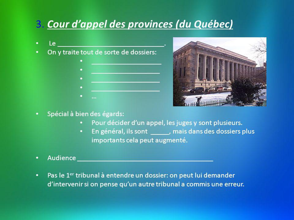 3. Cour d'appel des provinces (du Québec)