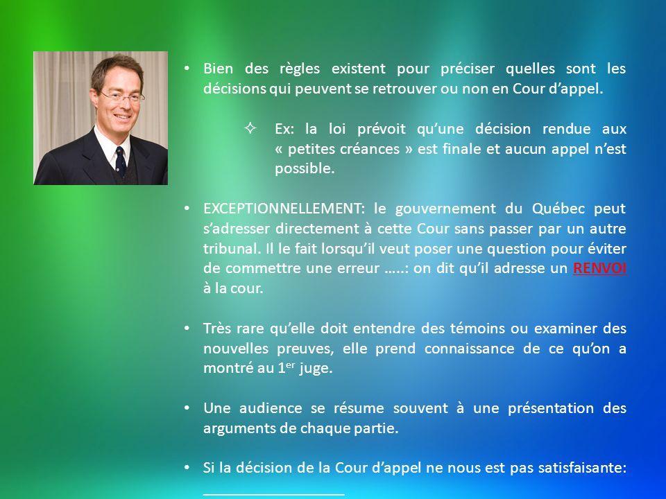 Bien des règles existent pour préciser quelles sont les décisions qui peuvent se retrouver ou non en Cour d'appel.