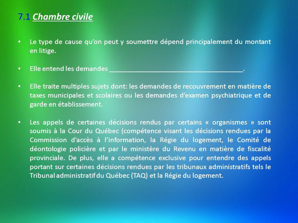 7.1 Chambre civile Le type de cause qu'on peut y soumettre dépend principalement du montant en litige.
