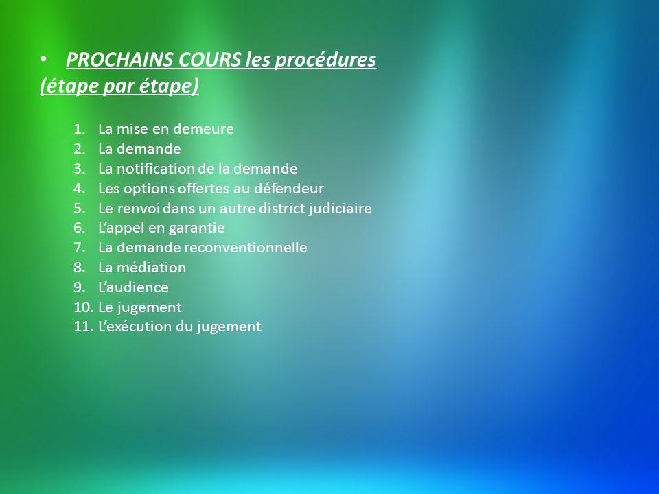 PROCHAINS COURS les procédures (étape par étape)