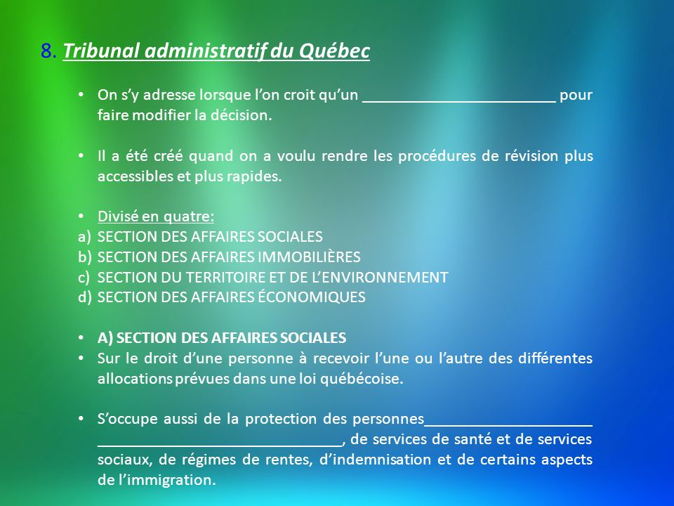 8. Tribunal administratif du Québec
