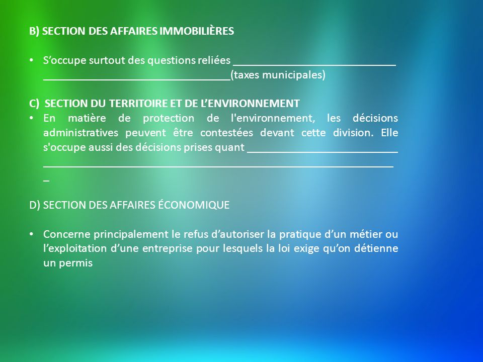 B) SECTION DES AFFAIRES IMMOBILIÈRES