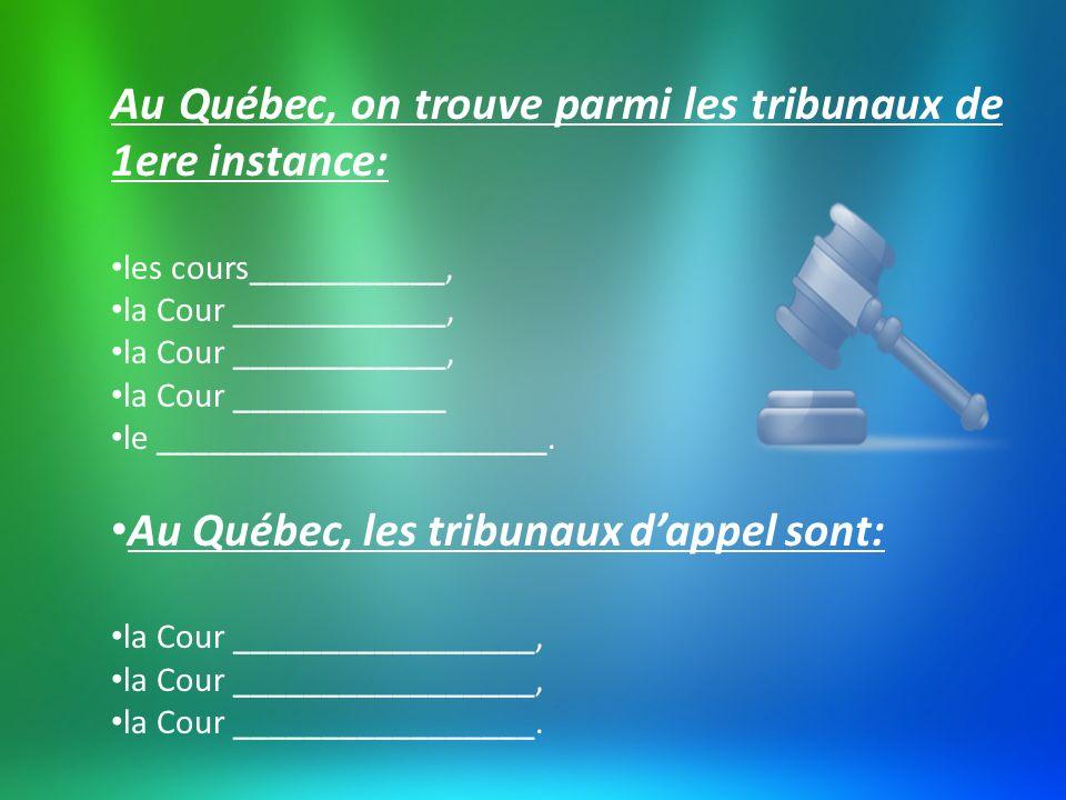 Au Québec, on trouve parmi les tribunaux de 1ere instance: