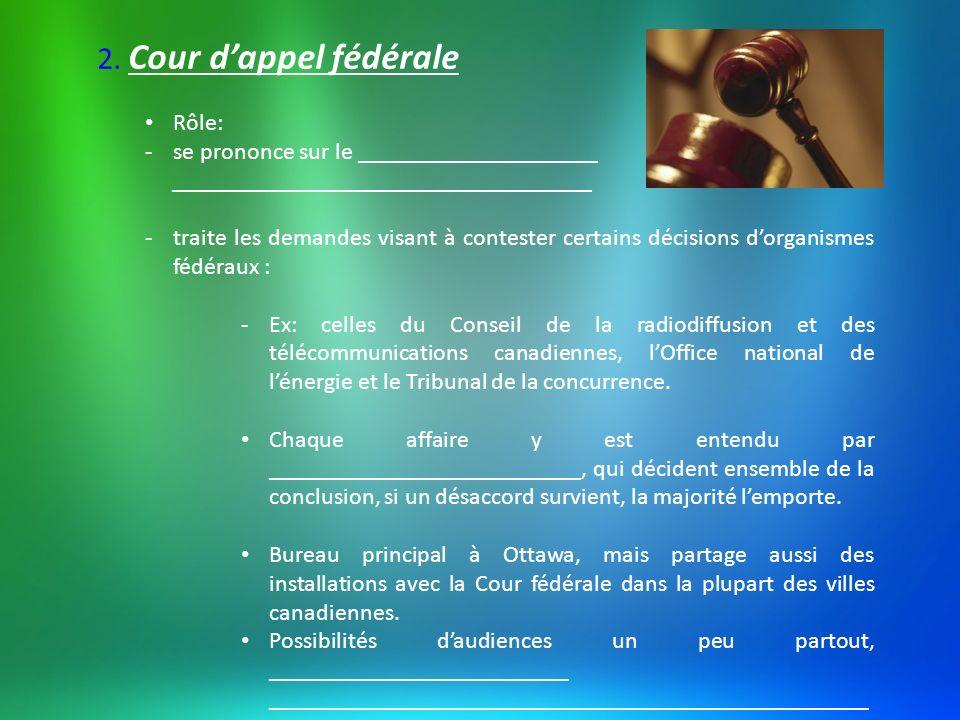 2. Cour d'appel fédérale Rôle: se prononce sur le ____________________
