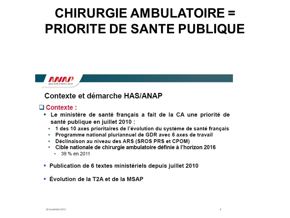 CHIRURGIE AMBULATOIRE = PRIORITE DE SANTE PUBLIQUE
